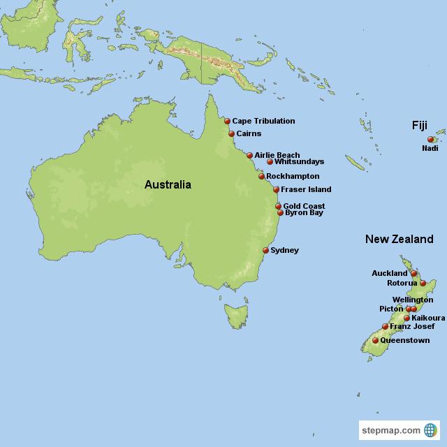 Map Of Australia Nz.Stepmap Jamie S Map Aus Nz F