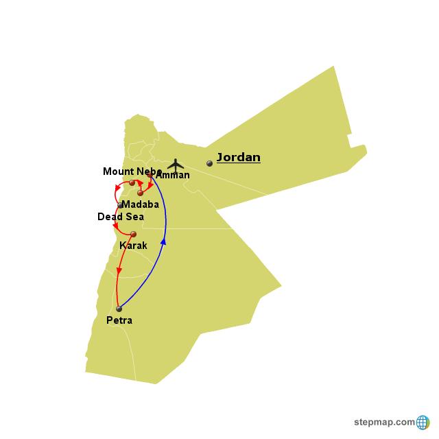 Stepmap Jordan Tour 1 Landkarte Fur World