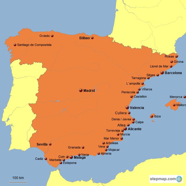 Stepmap Kaart Spanje Landkarte Fur Spain