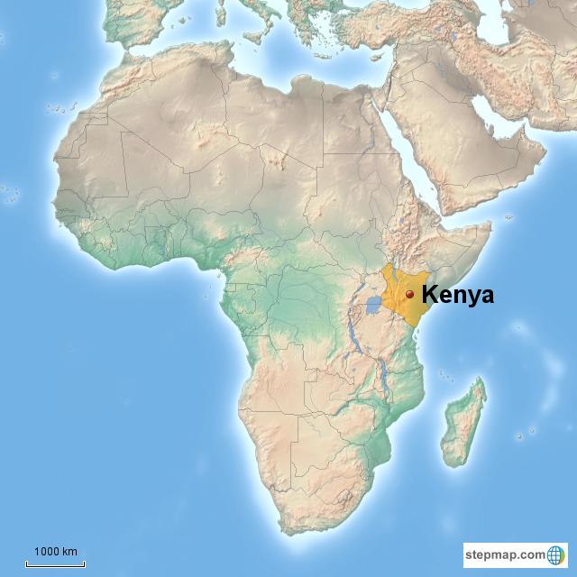 StepMap - Kenya Africa - Landkarte für Africa