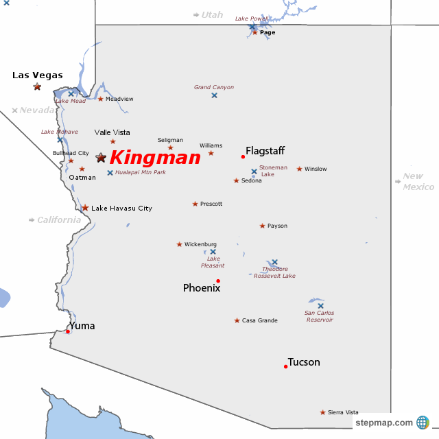 Map Of Kingman Arizona StepMap   Kingman AZ map   Landkarte für USA