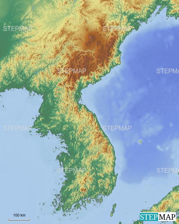 Map Of Asia Korean Peninsula.Stepmap Korean Peninsula Noith Borders Landkarte Fur Asia