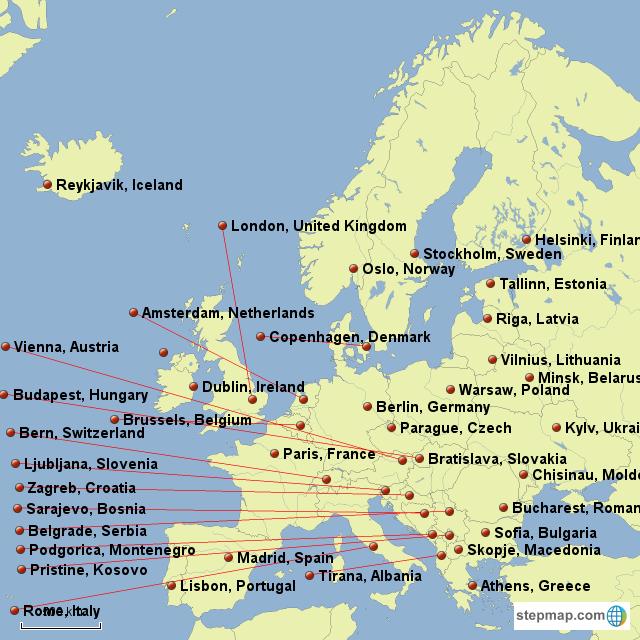 StepMap - Labeled Europe - Landkarte für Europe
