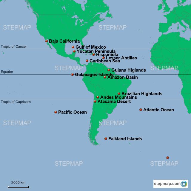 Stepmap Landforms And Bodies Of Water Landkarte Fur South America