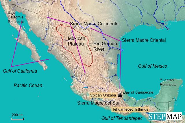 Stepmap Landforms Of Mexico Landkarte Fur Mexico