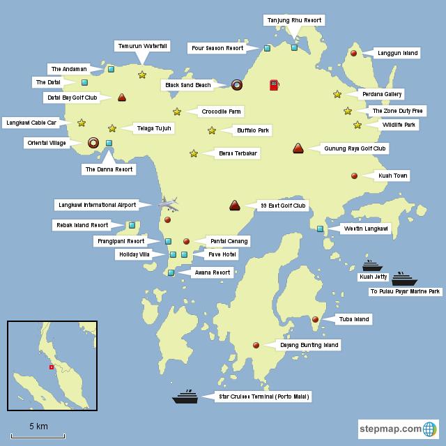 StepMap - Langkawi - Landkarte für Malaysia