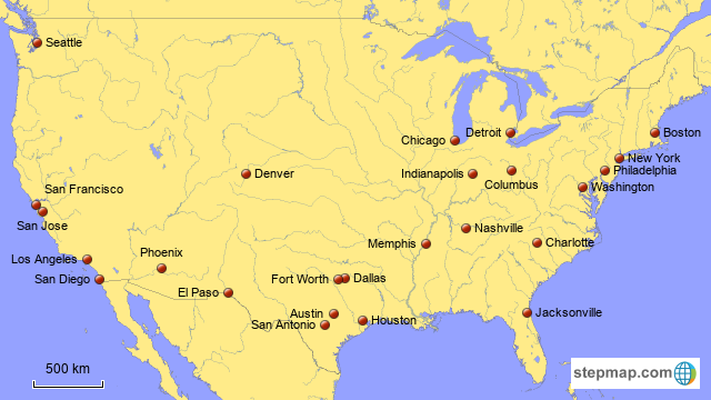StepMap - Largest Cities in America, Part I - Landkarte ...