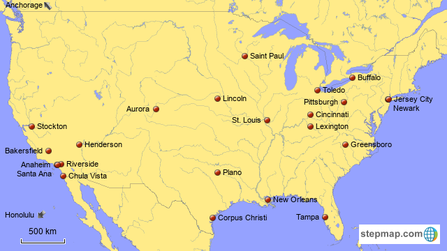 StepMap - Largest Cities in America, Part III - Landkarte für USA on cities in missouri, geography of usa map, cities in north america, historical landmarks in usa map, cities in new mexico, cities in ohio, northeast usa map, cities in wisconsin, cities in united states, religion in usa map, usa mountains map, sports in usa map, cities in washington, cities in arizona, oceans in usa map, cities in virginia, pike in usa map, native american tribes in usa map, seaports in usa map, poverty in usa map,