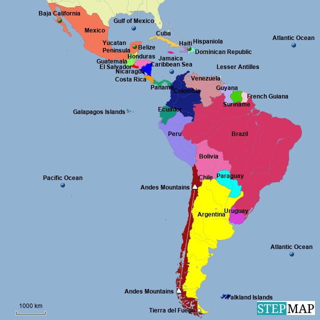 Map Of Central America Yucatan Peninsula.Stepmap Latin America Countries Landkarte Fur South America