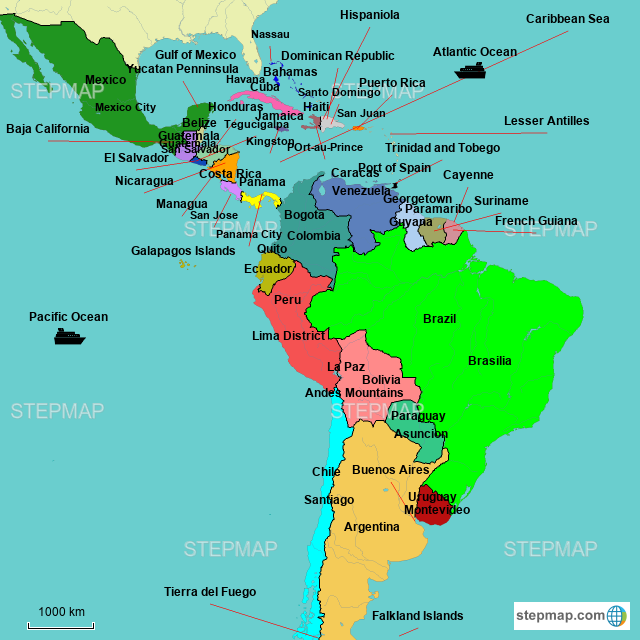 Map Latin America StepMap   Latin America Map   Landkarte für World