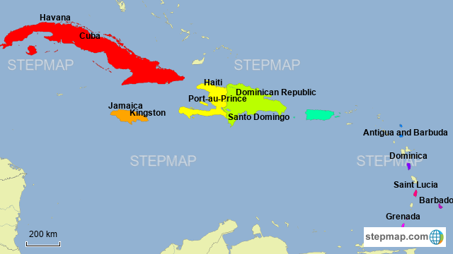 Map Of Caribbean Islands And South America StepMap   Latin America Map   Caribbean Islands Countries