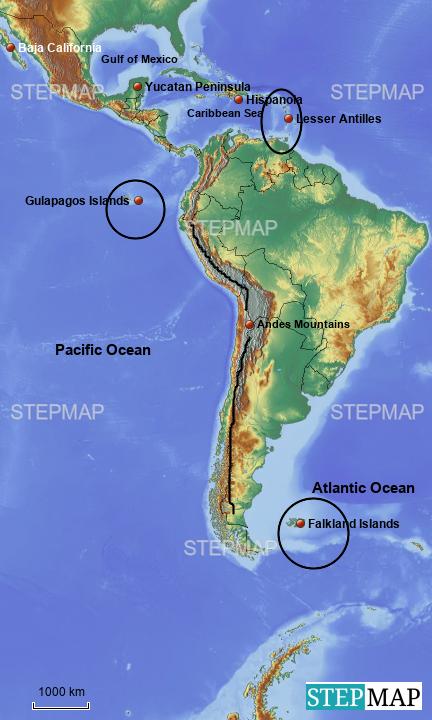 StepMap - Latin America Physical Features - Landkarte für Germany