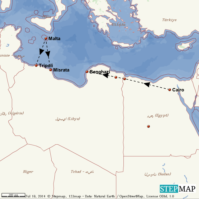 StepMap - Libya Egypt Malta Map - Landkarte für World