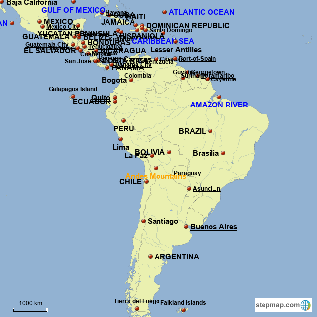 Map Of South America Jamaica.Stepmap Middle And South America Landkarte Fur South America