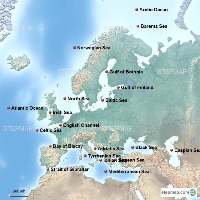 Map Of Europe With Bodies Of Water.Stepmap Major Bodies Of Water Europe Landkarte Fur Germany
