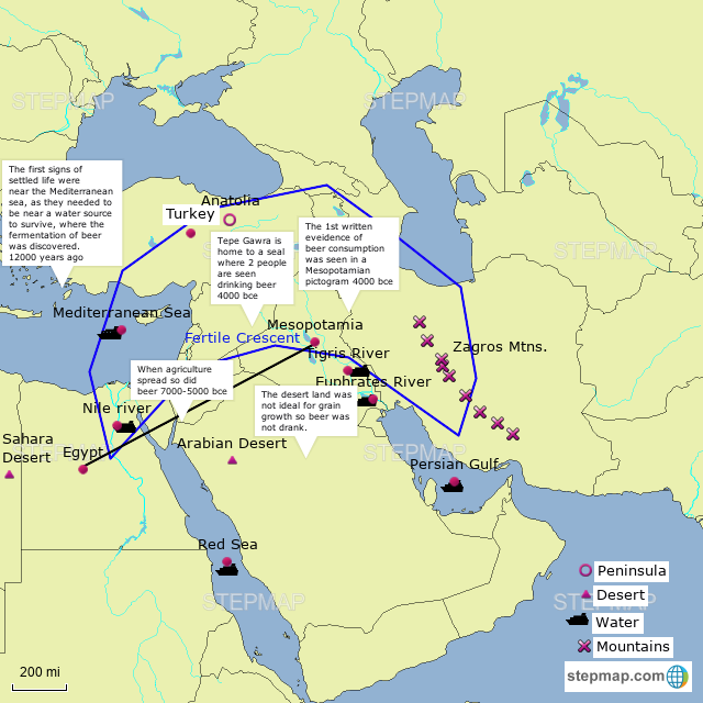 StepMap   Map #1 Beer in Mesopotamia and Egypt