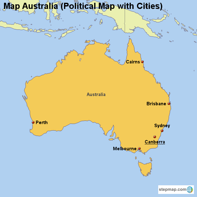 StepMap - Map Australia (Political Map with Cities) - Landkarte für ...
