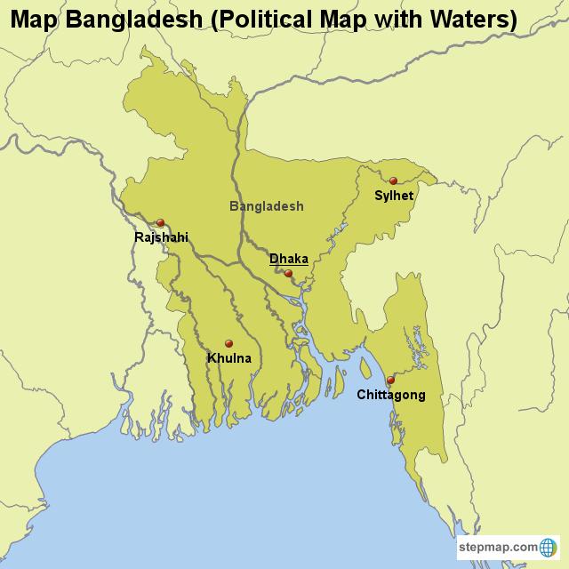 Stepmap Map Bangladesh Political Map With Waters Landkarte Fur