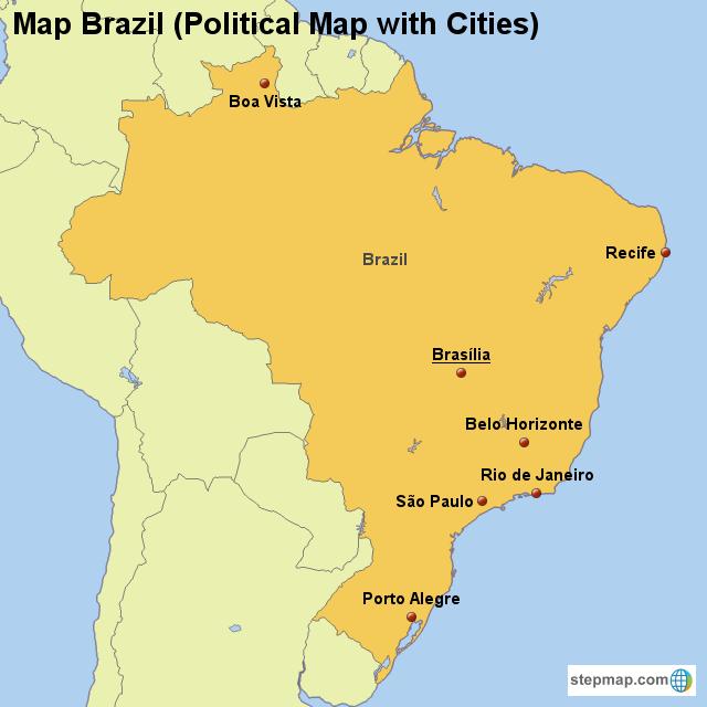 StepMap - Map Brazil (Political Map with Cities) - Landkarte für Brazil