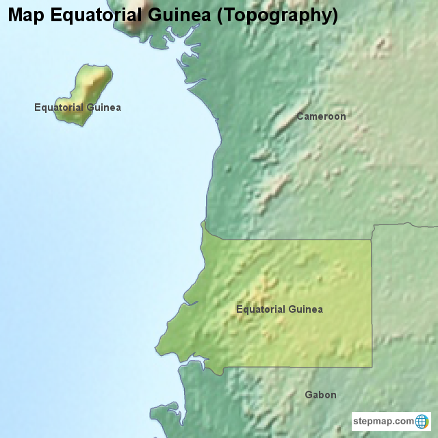 StepMap - Map Equatorial Guinea (Topography) - Landkarte für ...