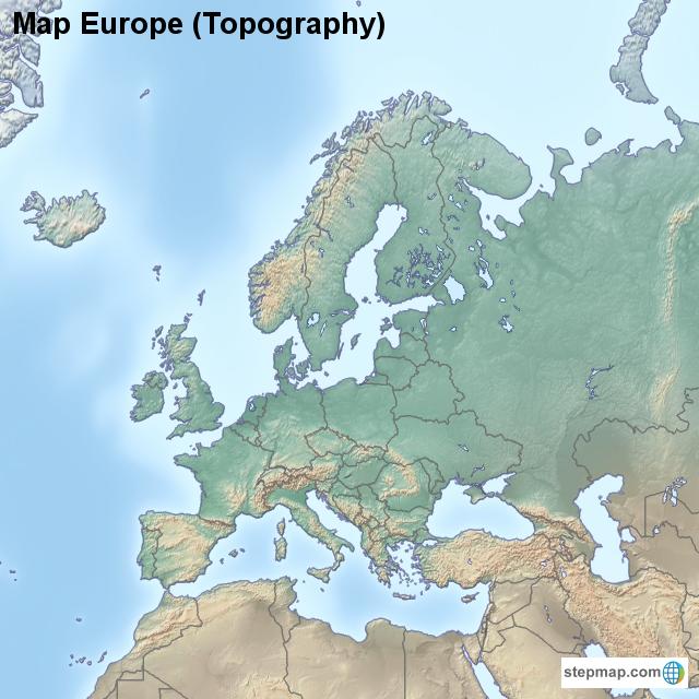 Stepmap Map Europe Topography Landkarte Fur Europe