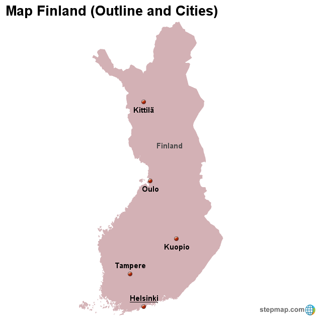 StepMap - Map Finland (Outline and Cities) - Landkarte für ...