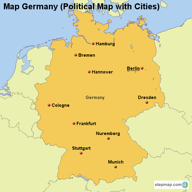 Map Of Germany With Cities.Stepmap Map Germany Political Map With Cities Landkarte Fur
