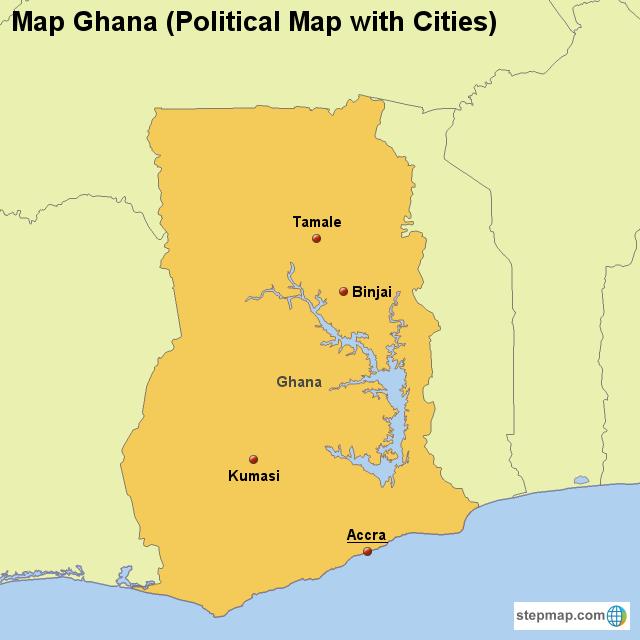 StepMap - Map Ghana (Political Map with Cities) - Landkarte ...