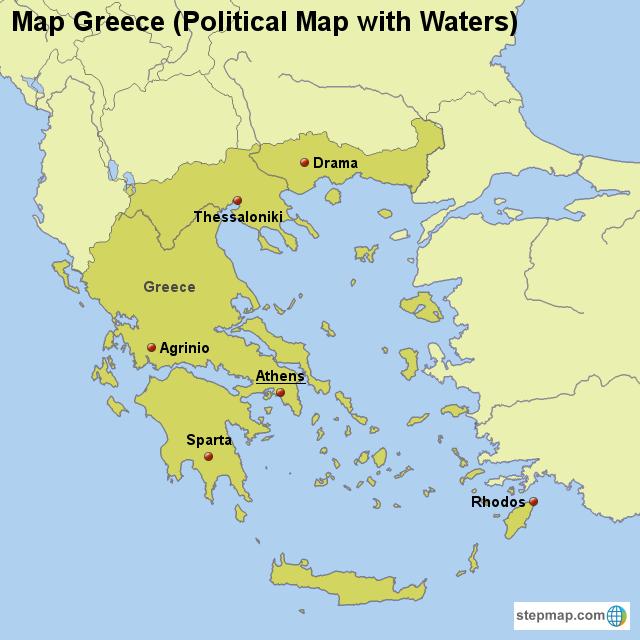 Stepmap Map Greece Political Map With Waters Landkarte Fur Greece