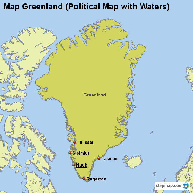 Stepmap Map Greenland Political Map With Waters Landkarte Fur