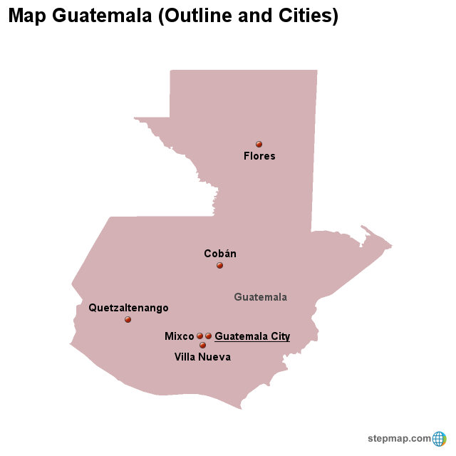 StepMap - Map Guatemala (Outline and Cities) - Landkarte für Guadeloupe