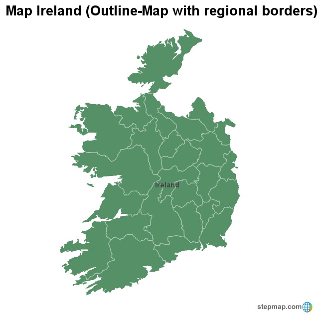 Regional Map Of Ireland.Stepmap Map Ireland Outline Map With Regional Borders
