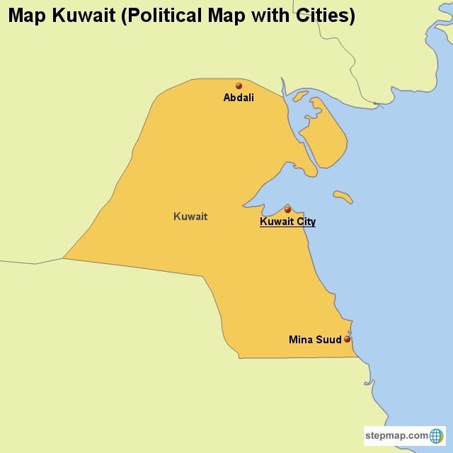Kuwait Political Map.Stepmap Map Kuwait Political Map With Cities Landkarte Fur Kuwait