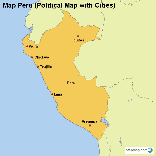 Stepmap Map Peru Political Map With Cities Landkarte Fur Peru
