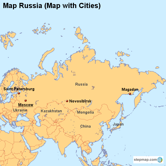 StepMap - Map Russia (Map with Cities) - Landkarte für Russia