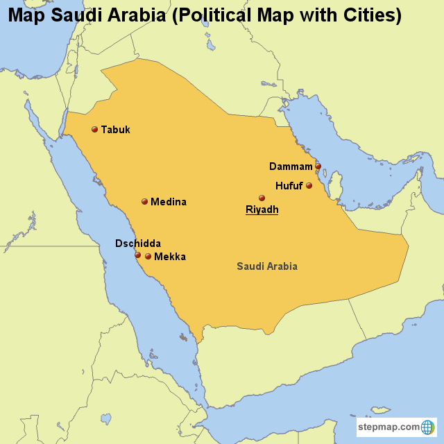 Stepmap Map Saudi Arabia Political Map With Cities Landkarte
