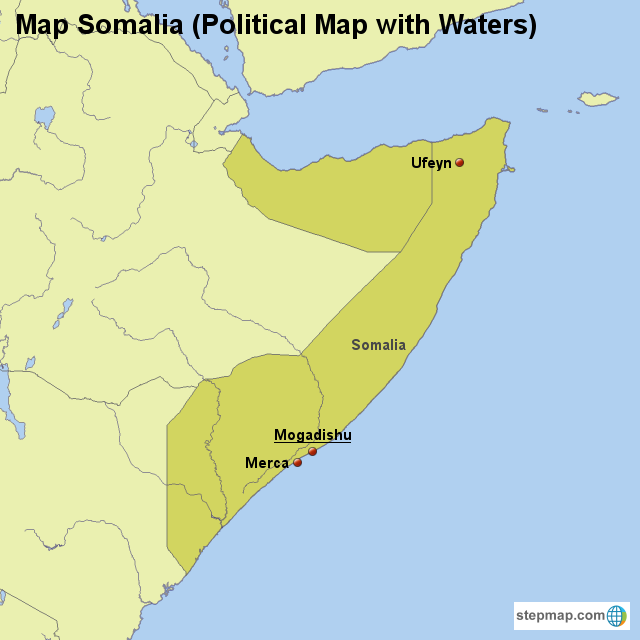 Stepmap Map Somalia Political Map With Waters Landkarte Fur