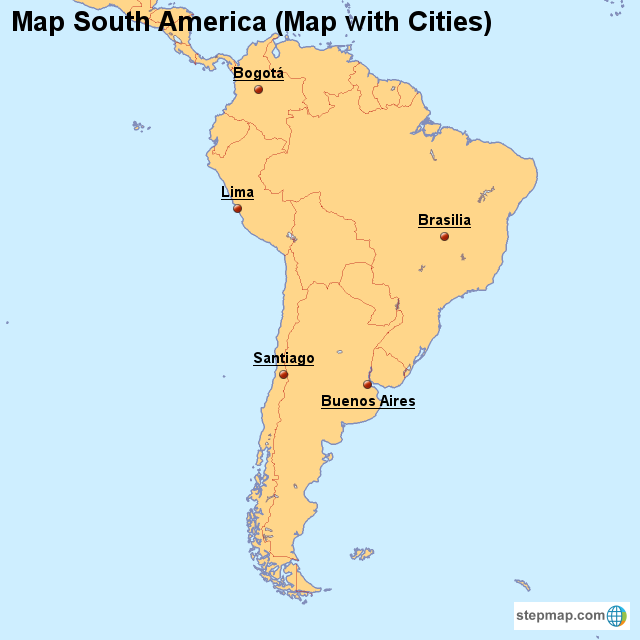 StepMap - Map South America (Map with Cities) - Landkarte für South ...