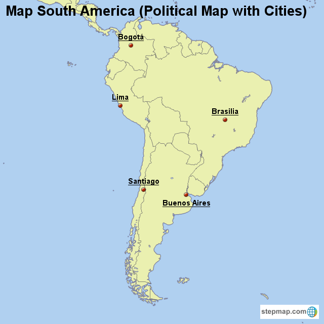 StepMap - Map South America (Political Map with Cities) - Landkarte ...