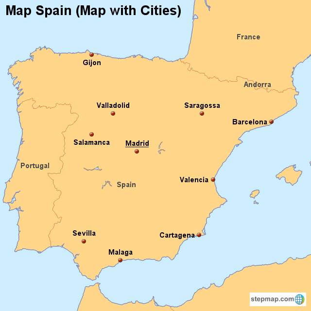 Stepmap Map Spain Map With Cities Landkarte Fur Spain