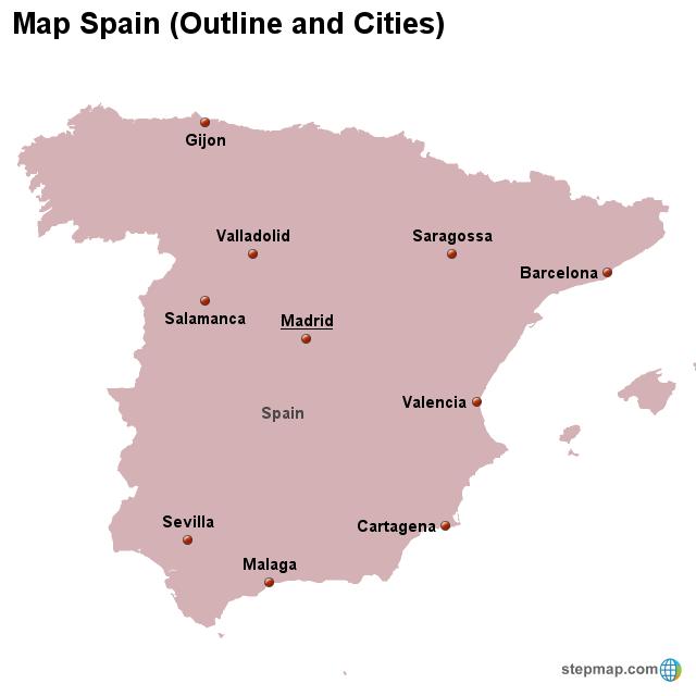 Stepmap Map Spain Outline And Cities Landkarte Fur Spain