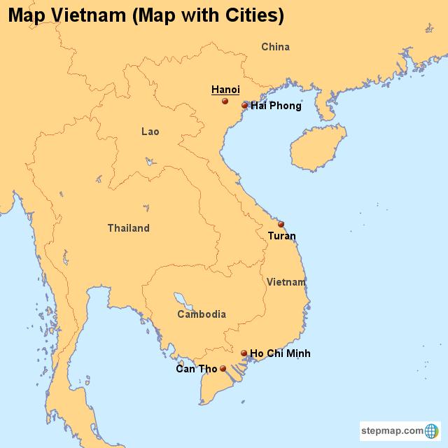 StepMap - Map Vietnam (Map with Cities) - Landkarte für Vietnam