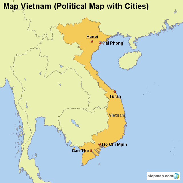 StepMap - Map Vietnam (Political Map with Cities ...