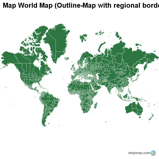 StepMap - Map World Map (Outline-Map with regional borders ...