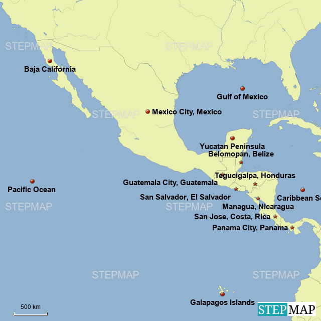 Stepmap Map Of Middle America Landkarte Fur South America