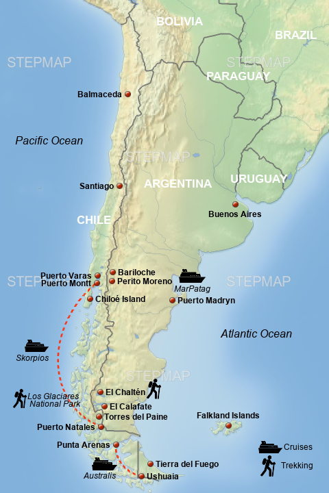 map of patagonia chile Stepmap Map Of Patagonia Landkarte Fur Chile map of patagonia chile