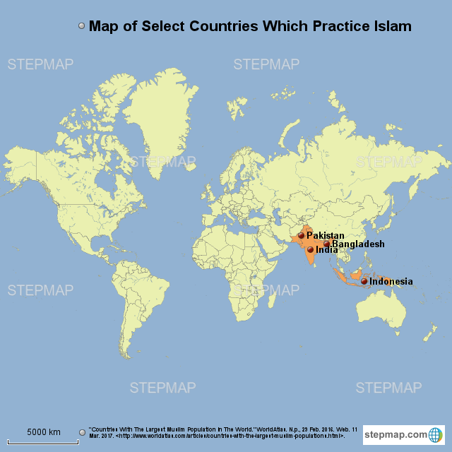 StepMap - Map of Select Countries Which Practice Islam ...
