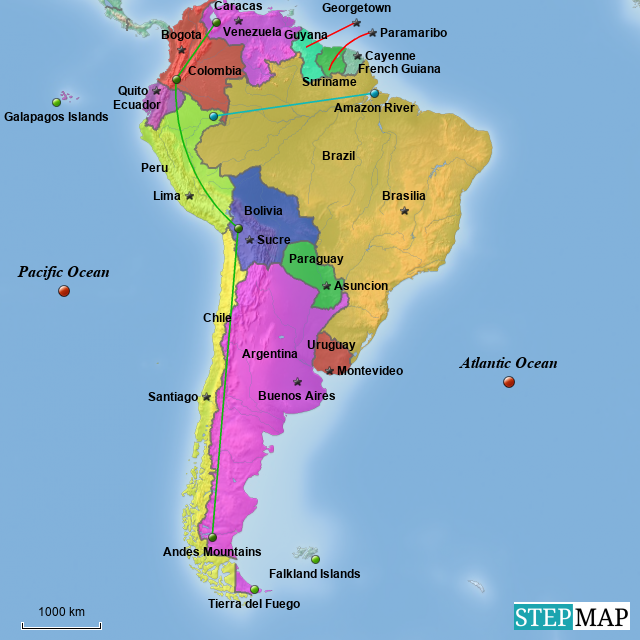 StepMap - Map of South America - Landkarte für South America
