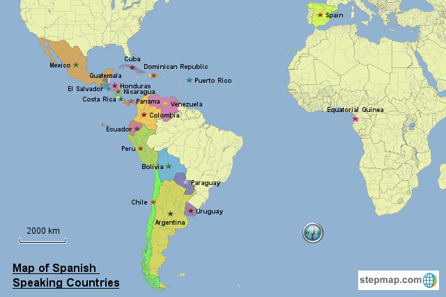 StepMap - Map of Spanish Speaking Countries - Landkarte für World