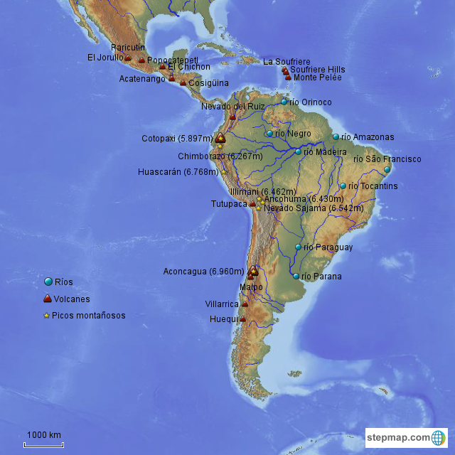 StepMap - Mapa 1 de América Latina- ríos, picos, volcanes ...